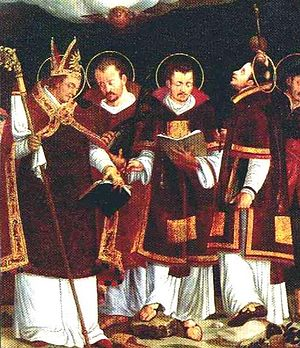 Vigilius of Trent - Saint Virgilius, and martyrs Sisinnius, Martyrius and Alexander. Paolo Naurizio, 1583.