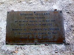 Vigny (95), maison natale de Sébastien Vaillant, plaque, rue Vaillant