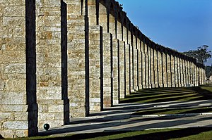 Santa Clara Aqueduct - Vertical pillars of the aqueduct near the Church of Santa Clara