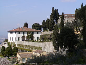 Villa - The Villa Medici in Fiesole with early terraced hillside landscape: by Leon Battista Alberti
