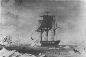 Southern Ocean - USS Vincennes at Disappointment Bay, Antarctica in early 1840.