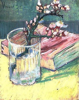 Almond Blossoms - Image: Vincent van Gogh Blossoming Almond Branch in a Glass with a Book