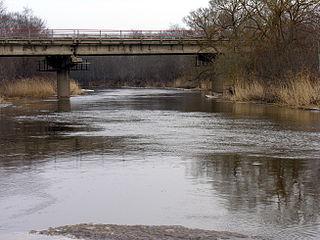 The Tryskiai-Vieksniai road bridge over the river Virvycia