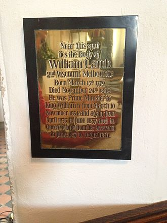 William Lamb, 2nd Viscount Melbourne - A plaque marking the burial of Melbourne at St Etheldreda's Church, Hatfield, in Hertfordshire, England