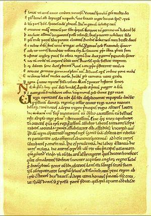 Hugh Candidus - A c. 1100 manuscript, similar to one Hugh Candidus would have written; this one is actually Vita Ædwardi Regis