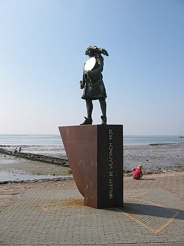 The statue of Willem de Vlamingh with the Hartog Plate, Vlieland