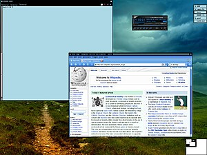 Vtwm - A screen shot of Vtwm in LFS running mrxvt, xmms and the Opera web browser