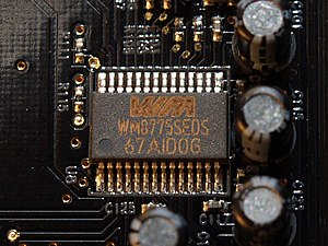 Analog-to-digital converter - 4-channel stereo multiplexed analog-to-digital converter WM8775SEDS made by Wolfson Microelectronics placed on an X-Fi Fatal1ty Pro sound card.