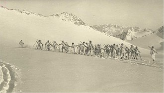 Mount Adamello - Italian ski patrol on the Adamello during World War I