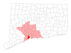 Location in New Haven County, کنیکٹیکٹ