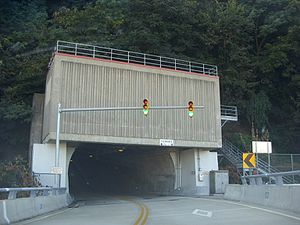Wabash Tunnel - The north end of the tunnel, which faces downtown Pittsburgh.