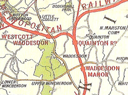 Map of mainly open countryside, with scattered villages. Four railway lines diverge from a station labelled Quainton Road. Two stations, labelled Waddesdon and Waddesdon Manor, are not near any populated area.