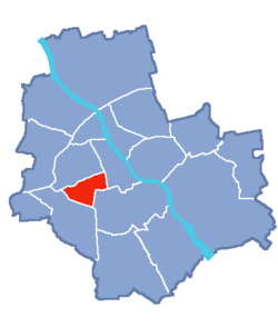 Location of Ochota within Warsaw