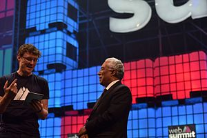 Web Summit - Paddy Cosgrave, Web Summit founder (left) and António Costa, Prime Minister of Portugal (right) at the opening ceremony