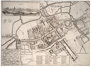 Siege of Oxford - On the left and upper left, the River Cherwell, Magdalen Bridge (East Bridge), and Christ Church Meadow (Christ Church walks) are marked on Wenceslaus Hollar's map of Oxford. Headington Hill and Marston are off the left hand side of the map.
