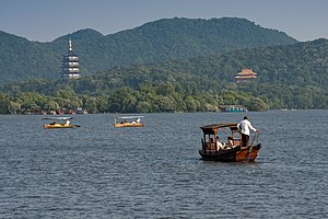 Zhejiang - View of the West Lake in Hangzhou.