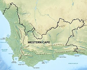 Western Cape - Topography of the Western Cape. The Roggeveld and Nuweveld mountains are part of the Great Escarpment (see diagrams below). The other mountain ranges belong to the Cape Fold Belt, also shown in the diagrams below. The Western Cape's inland boundary lies for the most part at the foot of the Great Escarpment.