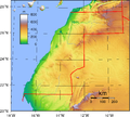 Topography of Western Sahara.