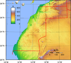 Outline of the Sahrawi Arab Democratic Republic - An enlargeable topographic map of Western Sahara