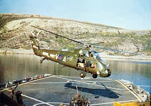 Westland Wessex RN takes off from USS Austin (LPD-4) 1976.jpg