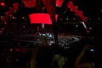 Red lighting across all the video screens has become a recurring feature of live performances of the song, shown here from a 2009 360° Tour show