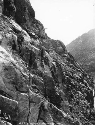 White Pass - Photograph of the W.P. & Y.R. near White Pass by Eric A. Hegg ca. 1899