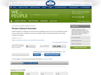 Reactions to global surveillance disclosures - We the People petition to pardon Snowden at the White House website