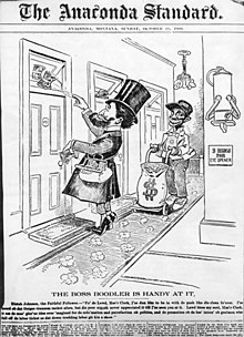 Newspaper political cartoon from the October 28, 1900 issue of The Anaconda Standard depicting Clark bribing state legislators by throwing wads of money through hotel transom windows.