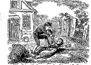 Child murder - 18th century illustration of William York, age 10, murdering Susan Matthew, age 5, on 13 May 1748, from The Newgate Calendar.