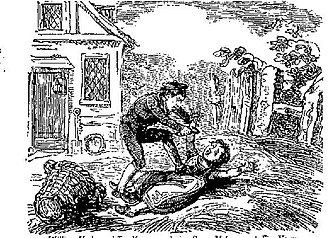 The Newgate Calendar - 18th-century illustration of William York, age 10, murdering Susan Matthew, age 5, on 13 May 1748, from The Newgate Calendar. York was sentenced to hang but was eventually pardoned.