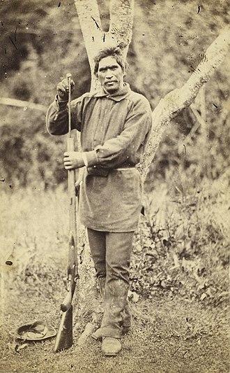 Wiremu Tamihana -  Wiremu Tamihana Tarpipipi Te Waharoa; portrait by John Kinder, January 1863