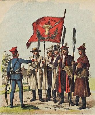Kosynierzy - Polish troops of 1794, with a number of kosynierzy