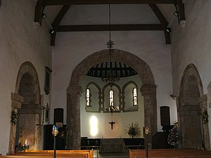St Nicholas' Church, Worth - Interior, looking east towards the apsidal chancel