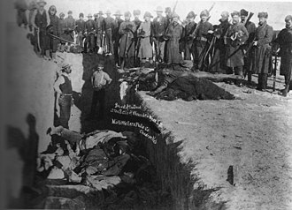 Genocide of indigenous peoples - A mass grave being dug for frozen bodies from the 1890 Wounded Knee Massacre, in which the U.S. Army killed 150 Lakota people, marking the end of the American Indian Wars