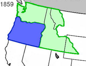 Oregon Territory - State of Oregon (blue) with Washington Territory (green) in 1859