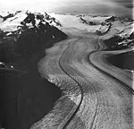 Wright Glacier, valley glacier with lateral moraines, firn line in the background and hanging glaciers on the mountainsides (GLACIERS 6326).jpg