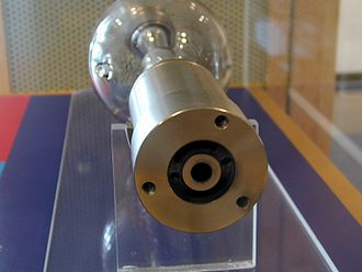 Xenon arc lamp - An end-view of a 15 kW IMAX lamp showing the liquid-cooling ports