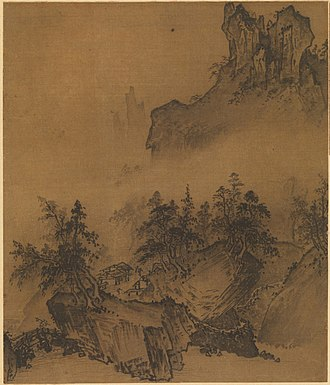 Wash (visual arts) - Xia Gui (Song dynasty) – Mountain Market- Clear with Rising Mist, one of the 8 scenes of the Eight Views of Xiaoxiang, a favourite subject in the Chinese ink wash painting tradition, showing the variety of effects achievable with black ink.
