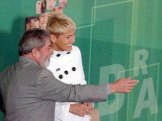Xuxa - Xuxa with then Brazilian president Luiz Inácio Lula da Silva in Brasília in 2007.