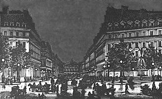 Yablochkov candle - Image: Yablochkov candles illuminating Avenue de l'Opera ca 1878