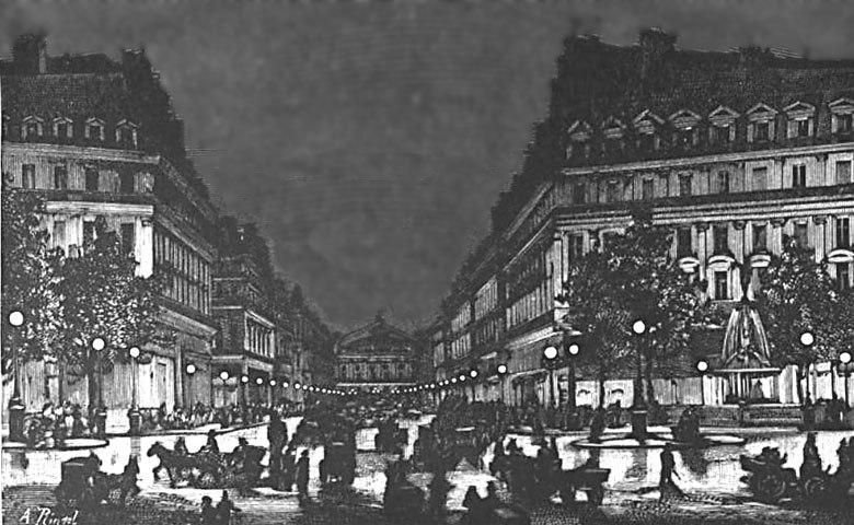 Yablochkov candles illuminating Avenue de l'Opera ca1878
