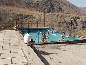 Economy of Kyrgyzstan - A swimming pool at the Ysyk-Ata resort