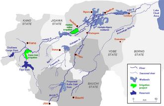 Hadejia-Nguru wetlands - Yobe River catchment area showing location of the Hadejia-Nguru wetlands