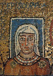 <i>Episcopa Theodora</i> Greek inscription on a Christian mosaic in the Chapel of Zeno of Verona
