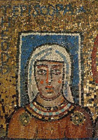 """Episcopa Theodora - The mother of Pope Paschal I, the Lady Theodora"""". Present detail of the mosaic."""