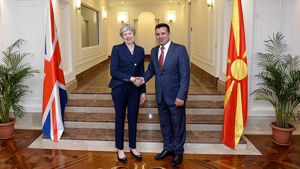 Zoran Zaev and Theresa May in Skopje