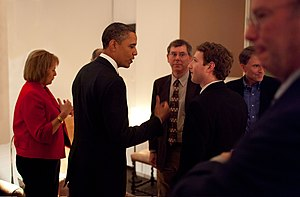 Carol Bartz - Mark Zuckerberg listening to President Barack Obama before a private meeting where Obama dined with technology business leaders in Woodside, California, February 17, 2011. (Also pictured, from left: Carol Bartz of Yahoo!, Art Levinson of Genentech, Steve Westly of The Westly Group, and Eric Schmidt of Google.)