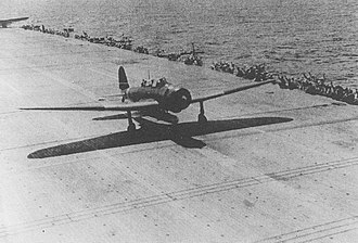 Aerial torpedo - A Japanese Nakajima B5N2 torpedo bomber takes off from the aircraft carrier Zuikaku  during the Battle of the Coral Sea.