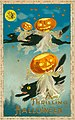 """A Thrilling Hallowe'en."" (Three black cats flying through the air with Jack-o-lanterns).jpg"