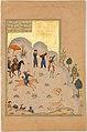 """Bahram Gur's Skill with the Bow"", Folio 17v from a Haft Paikar (Seven Portraits) of the Khamsa (Quintet) of Nizami MET DP159380.jpg"
